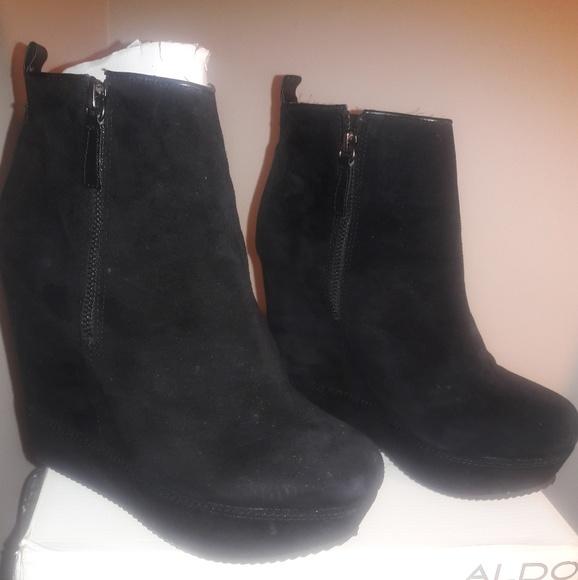 4d7ae1244b11e Aldo Shoes | Black Suede Wedges Booties | Poshmark